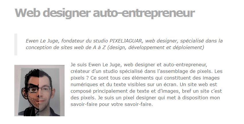 Interview de l'auto-entrepreneur Ewen Le Juge: Web designer
